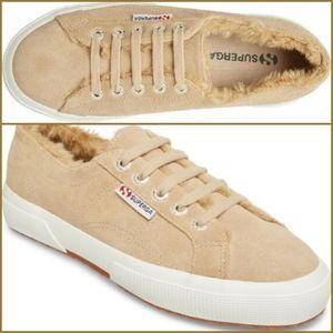 🆕️ SUPERGA Fur Lined Low Top Sneakers!